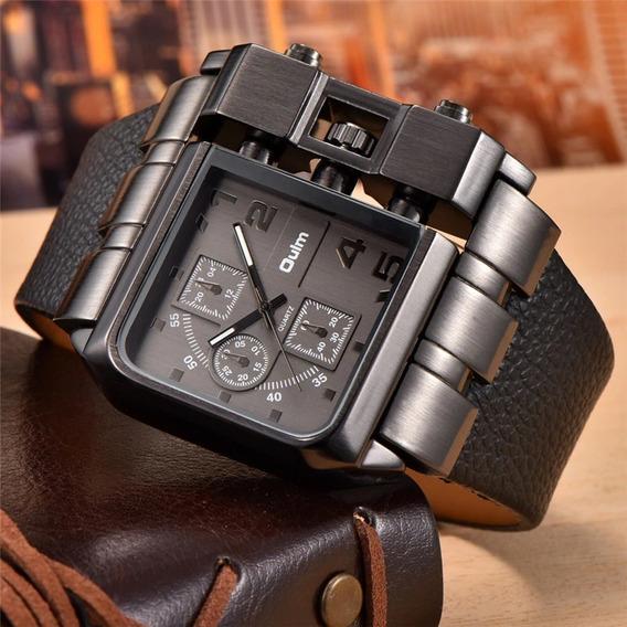 Relógio Original Oulm Quadrado Pulseira De Couro