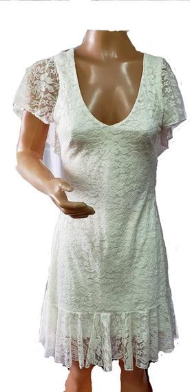Vestido Encaje Forrado Escote V- Parte De Atras