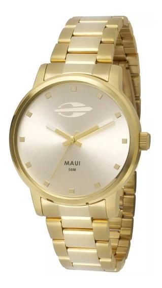 Relógio Mormaii Feminino Dourado Maui Mo2035gn/4k Original