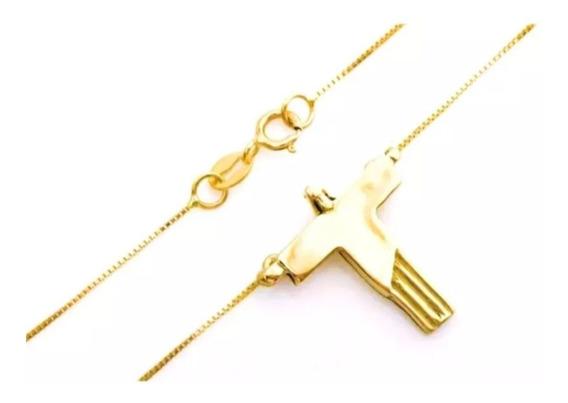Corrente Feminina Ouro 18k Pingente Cristo Redentor 45cm + Porta Joias 0041