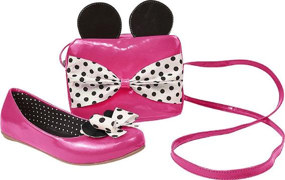 Kit Minnie: Bolsa + Sapatilha Infantil Menina Boneca 404186