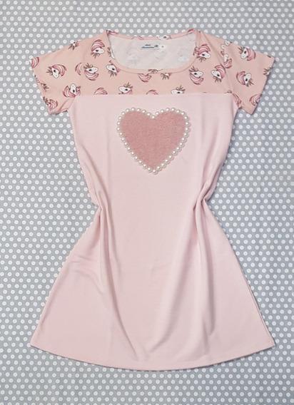 Vestido Rosa Solto Moda Feminina Unicórnio Bordado Pérolas