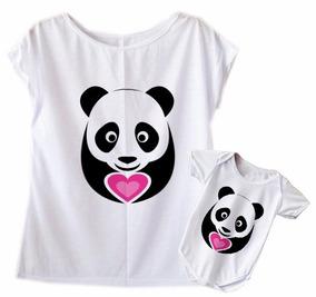 Blusa + Body Femininas Tal Mãe Tal Filha Panda Coração
