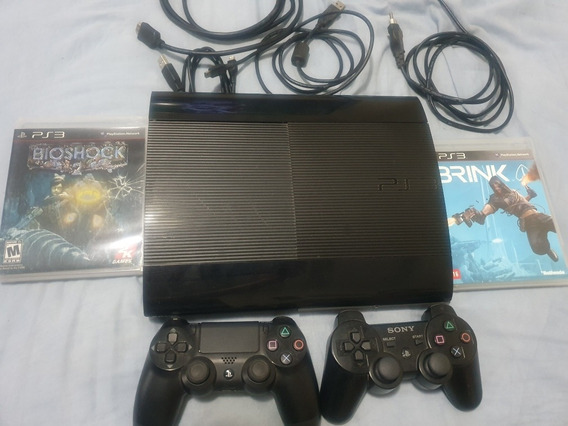 Ps3 Slim+ 1 Controle Ps3+controle Ps4+cabos+2 Jogos