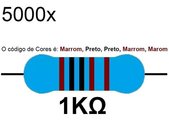 5000 Resistor 1k 1/4 W 1% Azul Led 5v 12v Arduino Raspberry