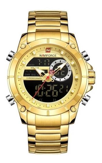 Relógio Masculino Naviforce 9163 Anadigi De Luxo Dourado