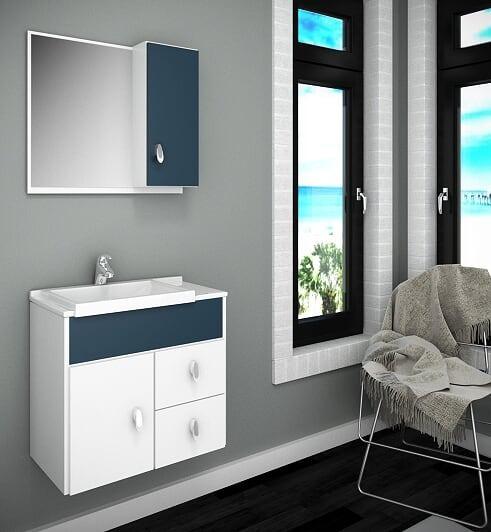 Gabinete / Armário P/ Banheiro Tuon Susp Com Cuba 55 Cm