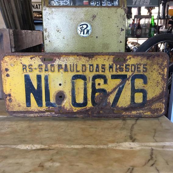 Placa Amarela Ferro Carro Antigo Decoração Ñ Medalha 396