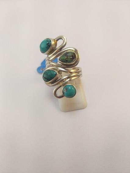 Anel De Prata Com 4 Pedras De Turquesa