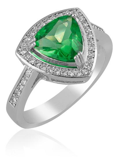 Anel De Ródio Triângulo Cravejado Emerald Coleção Classic