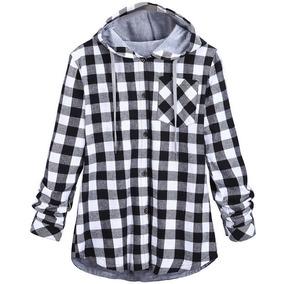 Camisa Casual Hemiks Plaid Lateral De Manga Larga
