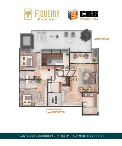 Luxuosa Cobertura Com 3 Dormitórios À Venda, 283 M² Por R$ 3.821.394 - Cambuí - Campinas/sp - Ap3010