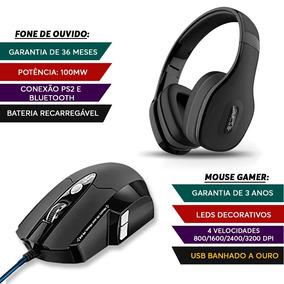Kit Mouse Warrior Game 6 Botões + Fone Bluetooth Preto