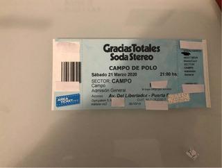 Entrada Soda Stereo Campo De Polo 21 De Marzo Campo !!!!!