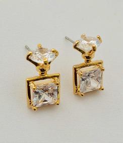 81ddd400210e Aretes Finos De Oro Laminado18k Y Zirconias Cabeza Diamante