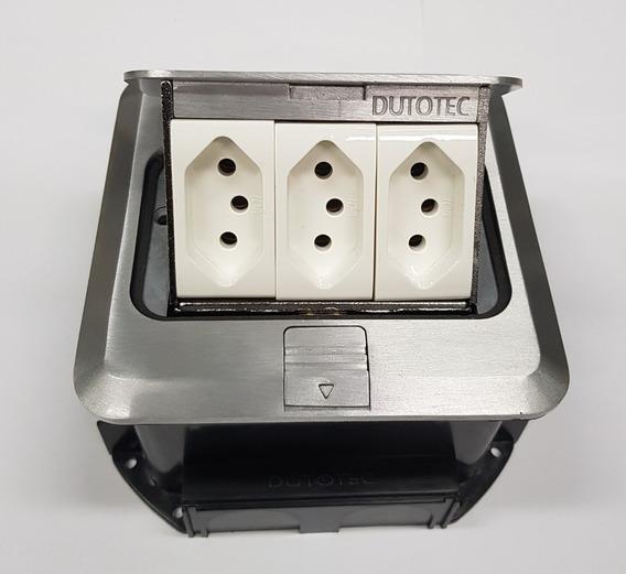 Caixa Piso Quadrada C/ 3tomada Eletrica Cr4 Alum/lat Dutotec