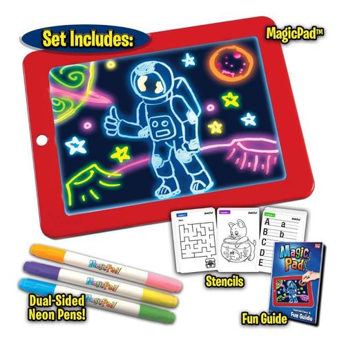 Bloc Pizarra De Dibujo Mágico Luz Led + Plumones. Niños