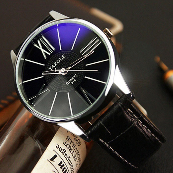 Relógio Quartzo Yazole Pulseira De Couro Fundo Azul