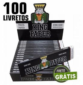 Kit 100 Seda Smoking King Paper Narguile Cigarro Eletronico