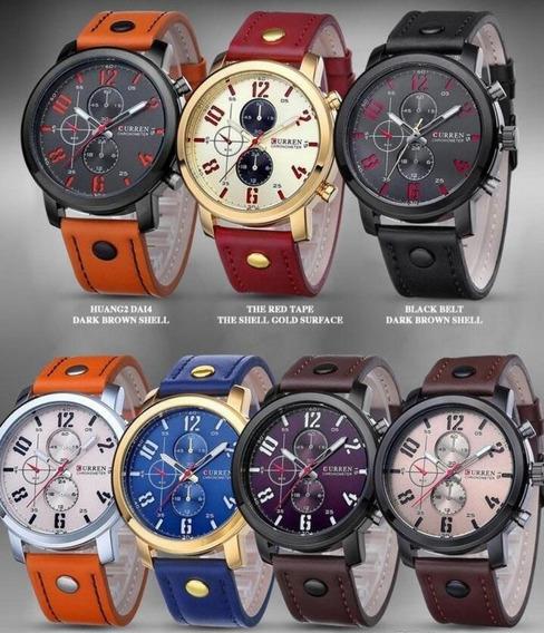 Relógio Masculino Curren 8192 Pulseira De Couro 12 Sem Juros
