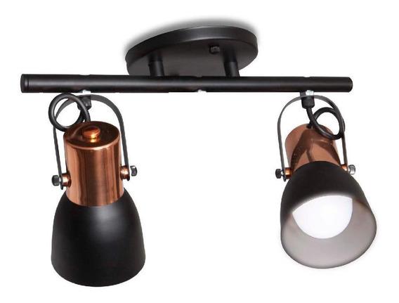 Spot Alumínio Spot Line Tróia 2xe27 Preto Com Cobre Trilho R 658/2