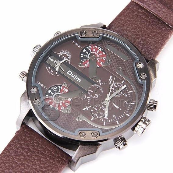 Relógio Masculino Militar Oulm Mod: 3548 Marrom+frete Gratis