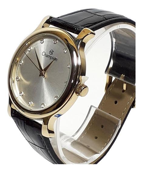 Relógio Feminino Champion Ch22733 Dourado Com Strass