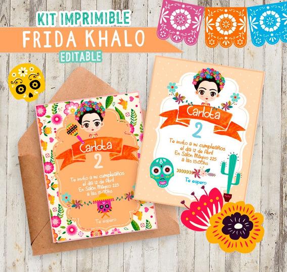 Kit Imprimible Fiesta Frida Khalo-2019 Editable -envio Xmail