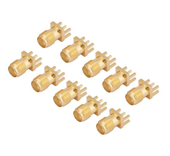 10 Unids SMA Conector Jack Hembra de Montaje en PCB 50 Ohm Conectores RF de Lat/ón