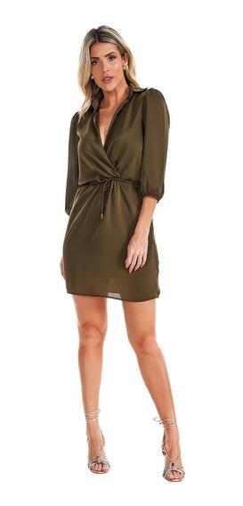 Vestido Chemise Lala Dubi Curto Verde Militar