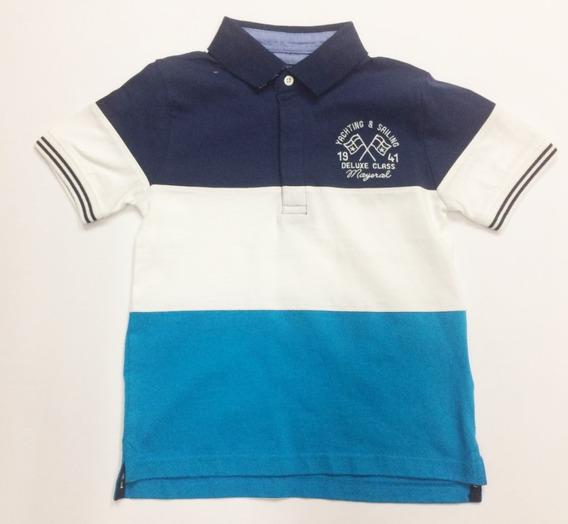 Playera Mayoral Est. 3118 Para Niño Tipo Polo Azul 6 7 8 S