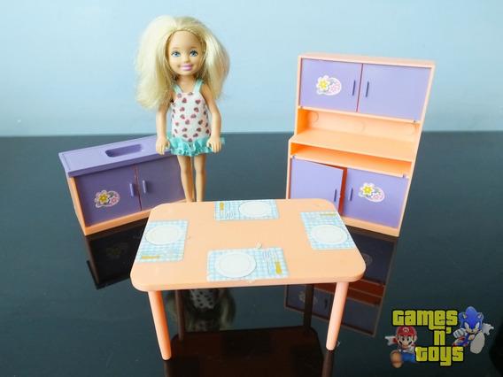 Boneca Kelly Com Cozinha Móveis Casa Tipo Barbie Mattel