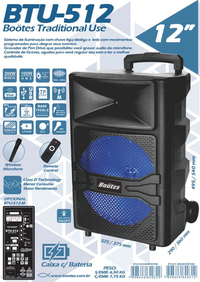 Caixa Bootes Btu-512 Bateria Bluetooth Radio Usb Mic-s/fio