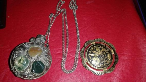 Antiguo Perfumero Alpaca Y Piedras Y Prendedor Toledo
