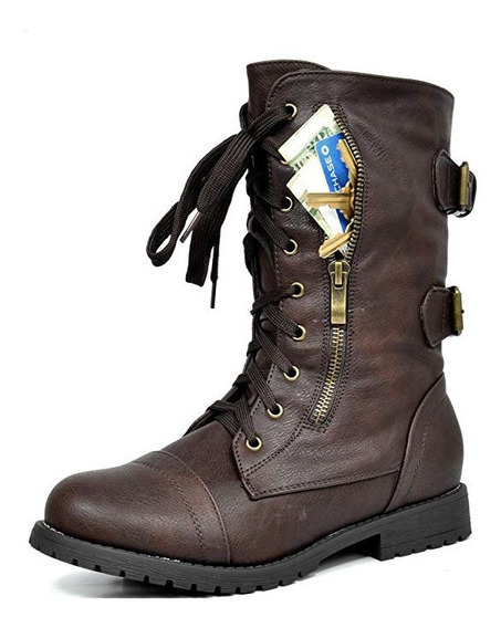 Botas Para Dama Combate Militar Cartera Seguridad Caminata