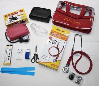 Kit Enfermagem Completo Premium - Cor Bordô - 9 Acessórios