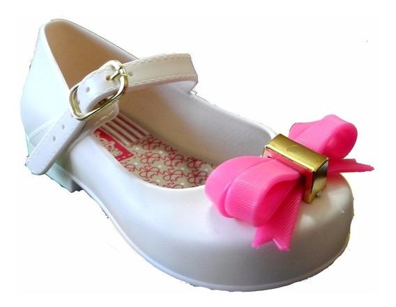Sapatilha Infantil Bebê Branca Rosa Casamento Festa Batizado
