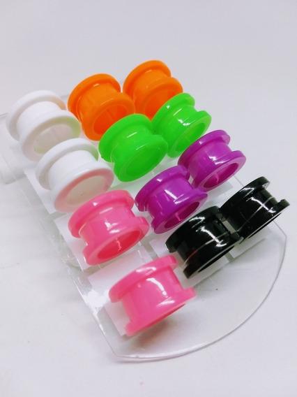 Alargador Colorido 14mm Plastico Acrilico 12 Unidad Piercing