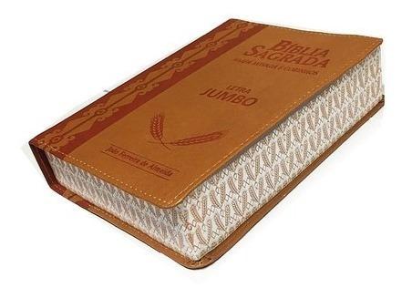 Bíblia Sagrada Letra Jumbo Harpa Avivada Corinhos Marrom Cla