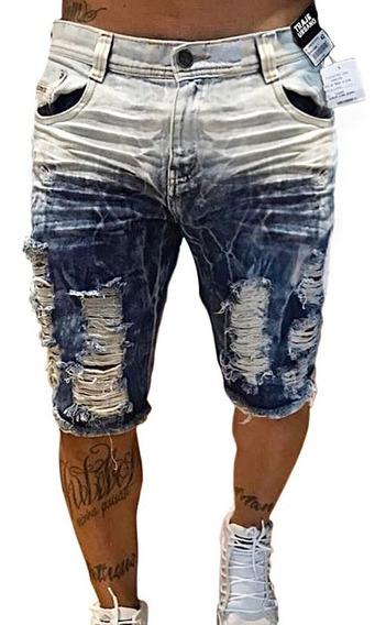Bermuda Jeans Destroyed Super Skinny Degradê Masculina