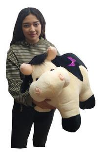 Vaca De Peluche Beige Tierna Y Suave Vaquita 50 Cm