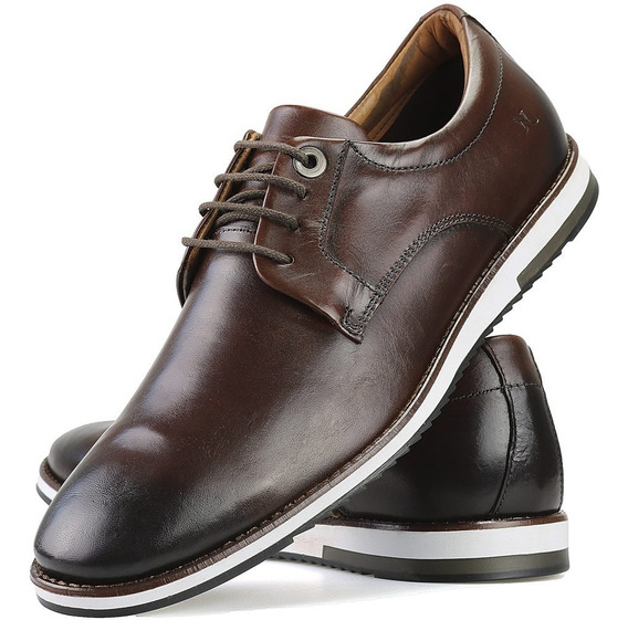 Sapato Oxford Em Couro Conhaque Casual Estiloso