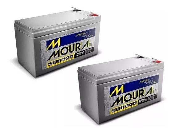 Kit 2 Bateria Moura Vrla Selada 12v 7ah Alarme / Nobreak