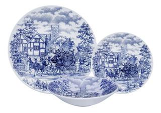 Set X18 Platos Playo Hondo Postre Cena Inglesa Antiguo Azul