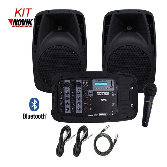 Caixa De Som Novik Mixer Ativa Evo410 Handy Par + Microfone.
