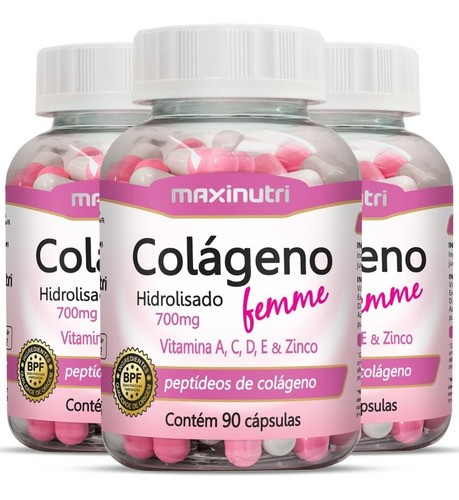 Imagem 1 de 4 de Colágeno Hidrolisado Femme + Vitaminas A, C, D, E Com 270cps