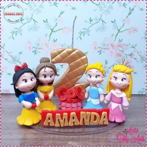 Topo De Bolo Personalizado Biscuit Aniversario Princesas