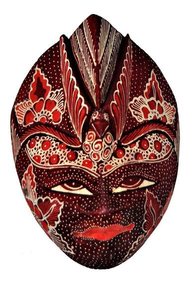 Mascara Batik Tribal Vermelha Em Madeira - Bali - Decoração