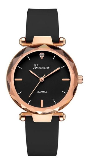 Relógio Feminino Pulseira Silicone Rosé Moda Barato Promoção