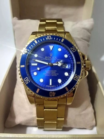Relógio Masculino Submariner Azul Dourado + 3 Bat + Fgrátis